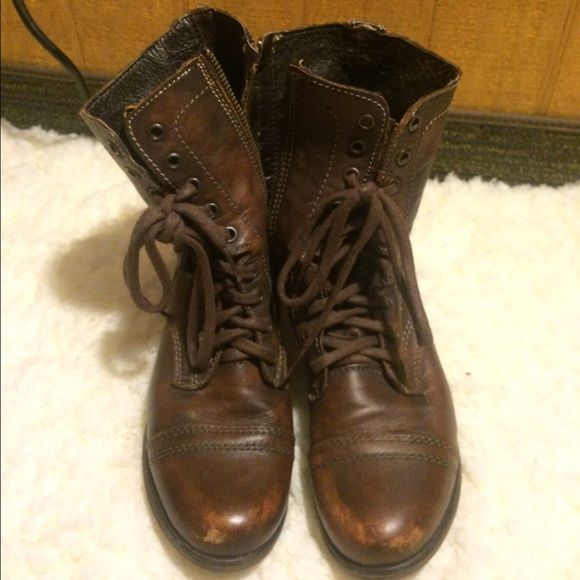 Steve Madden combat boots These are a little worn, but I think it adds to the combat boot look! They work in the rain too! Steve Madden Shoes Combat & Moto Boots