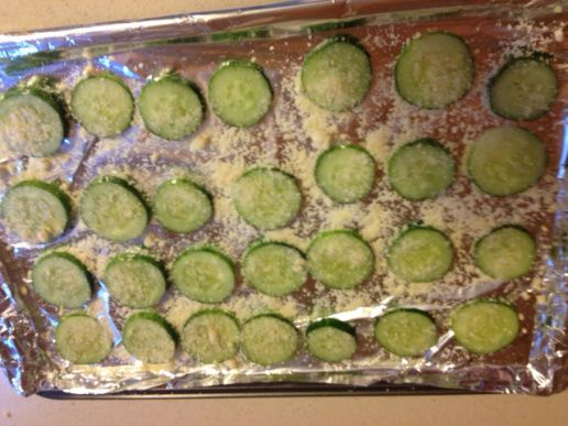 Baked cucumber slices — yummy, low carb treat! I made them without the cheese and they were still delicious