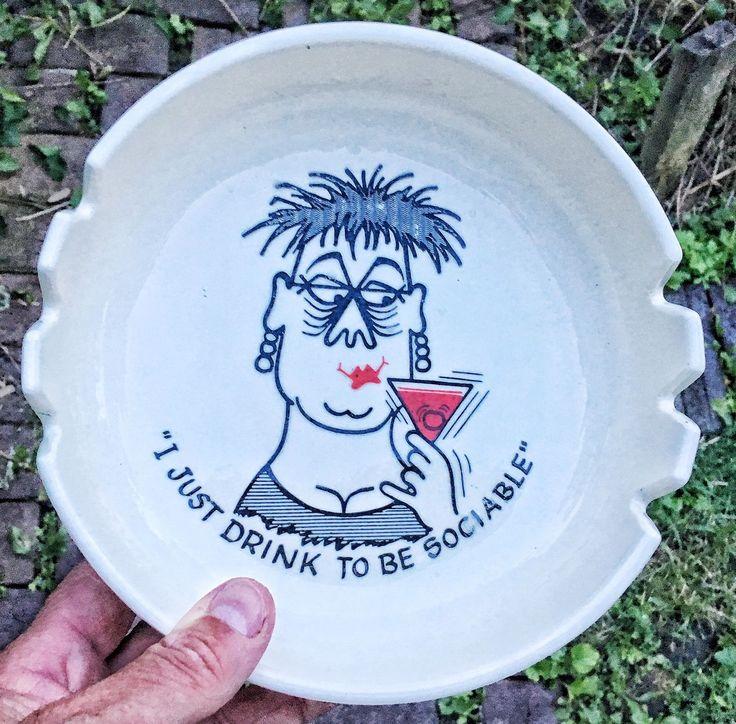 "Vintage Barware 1950's 8"" Cartoon Ashtray Graphic Art Re: Drinking & Alcohol"