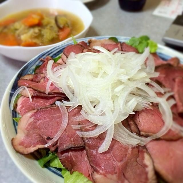 5日目はスープとお肉の日。待望のお肉!! - 5件のもぐもぐ - デトックススープ+ローストビーフ by golvee
