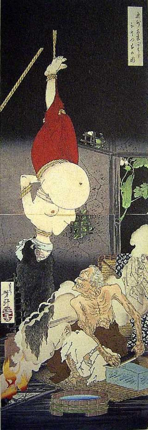 奥州安達がはらひとつ家の図(1885年) 月岡芳年  黒塚の鬼婆伝説を題材にした作品。題材への是非はあるが、とんでもないインパクト。130年前ぐらい前の絵です。大きなお腹の妊婦さんが吊られているすぐ下で鬼婆がすごい形相で包丁といでます。言葉が出ません。