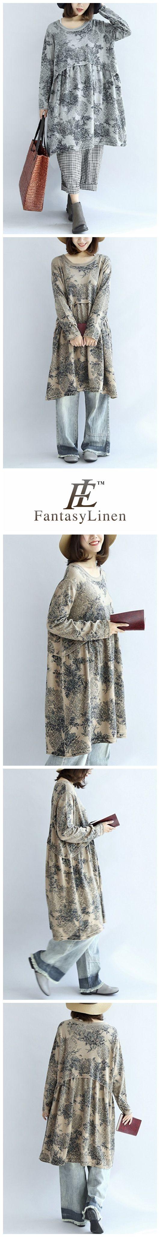Printing Cotton High Waist Loose Women Dress Q7118