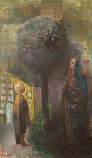 "Saatchi Art Artist GEORGE KARAFOTIAS; Painting, ""MOTHER CHILD ABSTRACT"" #art"