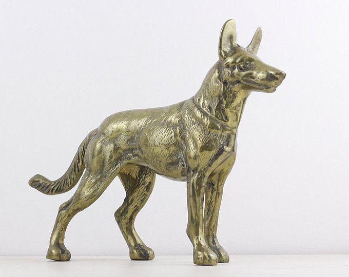 Brass German Sheppard, vintage large brass dog figurine, decorative dog statue, collectible canine figure, rustic home decor spirit animal