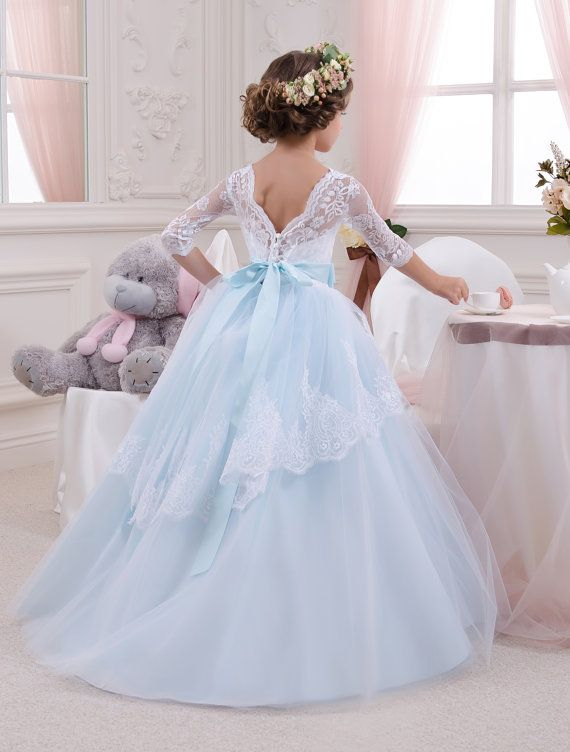 blue white lace tulle formal flower girl dress for special etsy