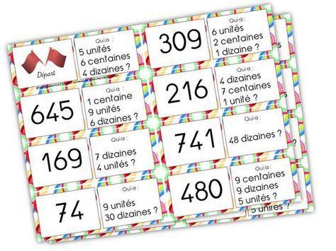 Edit du 20 juillet 2014 : ajout du troisième jeu de dominos Voici une série de jeu de dominos pour renforcer l »acquisition de la notion centaine, dizaine, unité. Jeu de domino 1 (nomb…