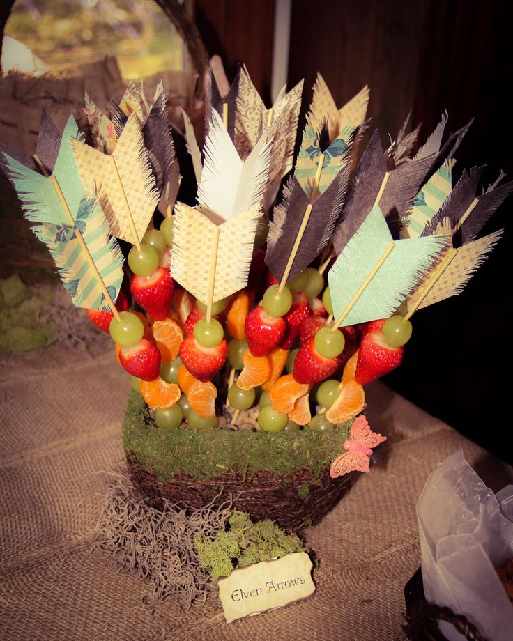 """Elven Arrows"" - fruit skewers for an Enchanted Forest Party"