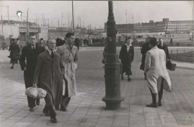 1942. Jews who were assigned to forced labor in national labor camps in the Netherlands on their way to the Amstel Station in Amsterdam. The national labor camps were originally established for unemployed Dutch laborers, but in 1942 they were also used to accommodate Jewish forced laborers. Photo Stadsarchief Amsterdam / Bart de Kok. #amsterdam #worldwar2 #1942 #AmstelStation