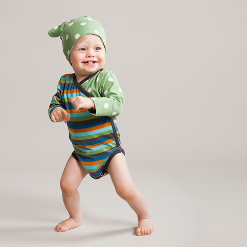 Fresh petrol/ orange multi stripe and green polka dots combined in a cute wraparound bodysuit.