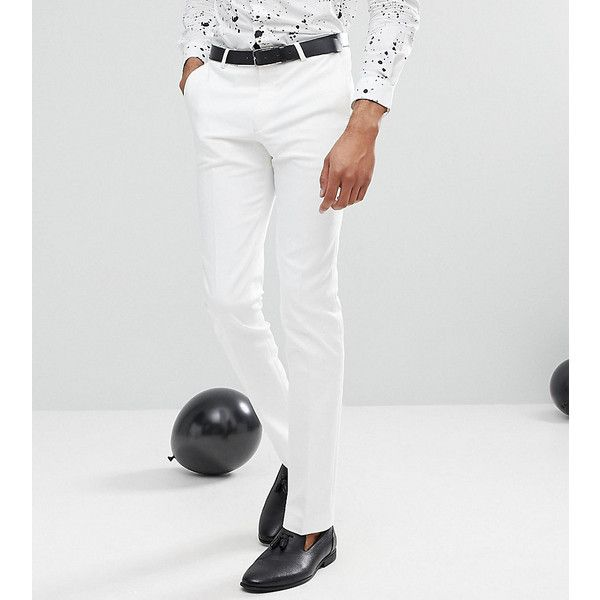 Noose & Monkey TALL Super Skinny Suit Trousers ($91) ❤ liked on Polyvore featuring men's fashion, men's clothing, men's pants, men's dress pants, white, mens skinny suit pants, tall mens pants, mens skinny dress pants, mens skinny pants and mens velvet pants