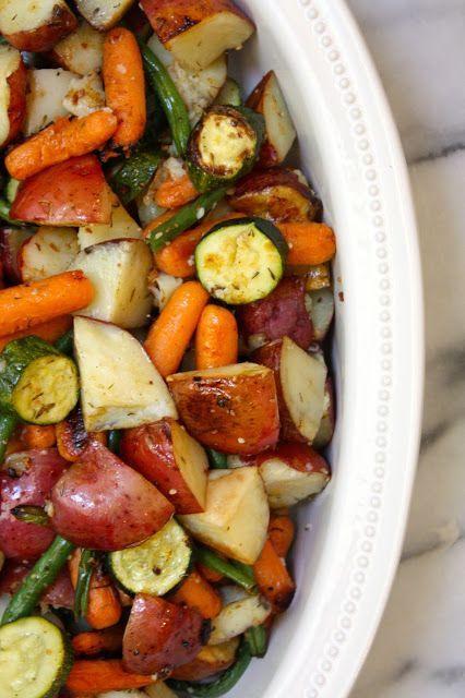Roasted Herbed Veggies. Red potatoes, yellow bell pepper, green beans, zuccihin, carrots, onion. Toss w/olive oil, fresh thyme, lemon juice, salt, pepper, garlic. Roast at 450°F for 35-45 mins..