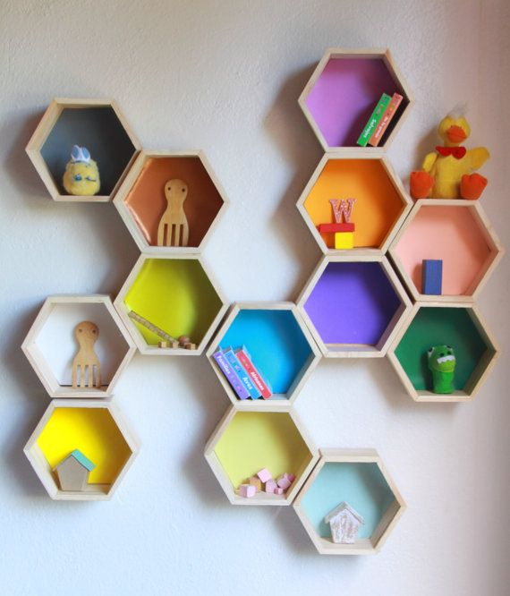Five Small Wood hexagonal pine shelves.  Laquered paint in any color you want. Height 7   Wide 8  Deep 3 1/4   Grate for small things like litle