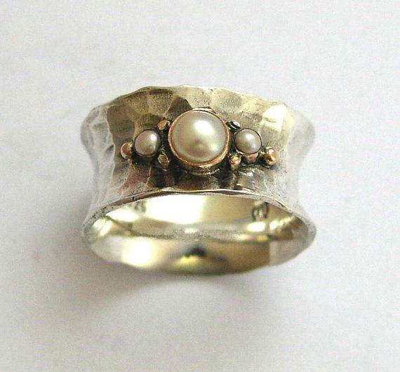 Anello, argento banda, twotones anello, accessori di moda, anello della pietra preziosa della perla, argento oro, banda larga d