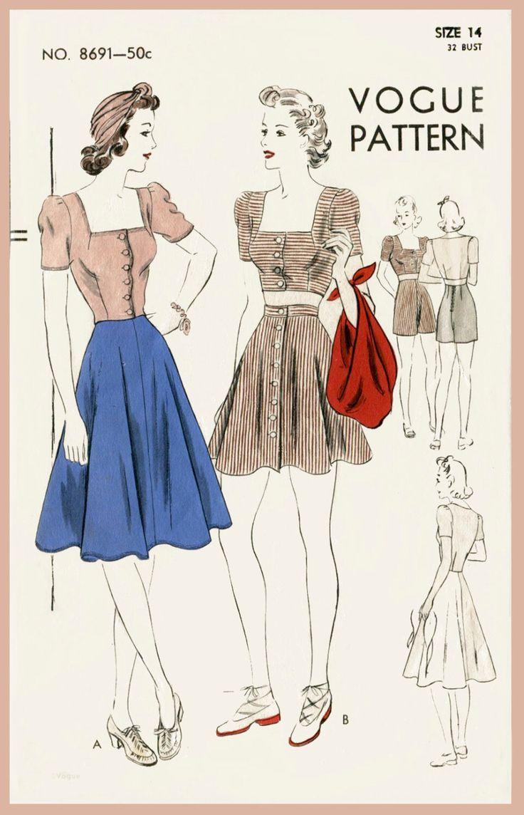 da cucire d'epoca modello Vogue 1940s 40s raccolto d'annata sole top gonna pattinatrice abito pantaloncini spiaggia repro di LadyMarloweStudios su Etsy https://www.etsy.com/it/listing/229306000/da-cucire-depoca-modello-vogue-1940s-40s