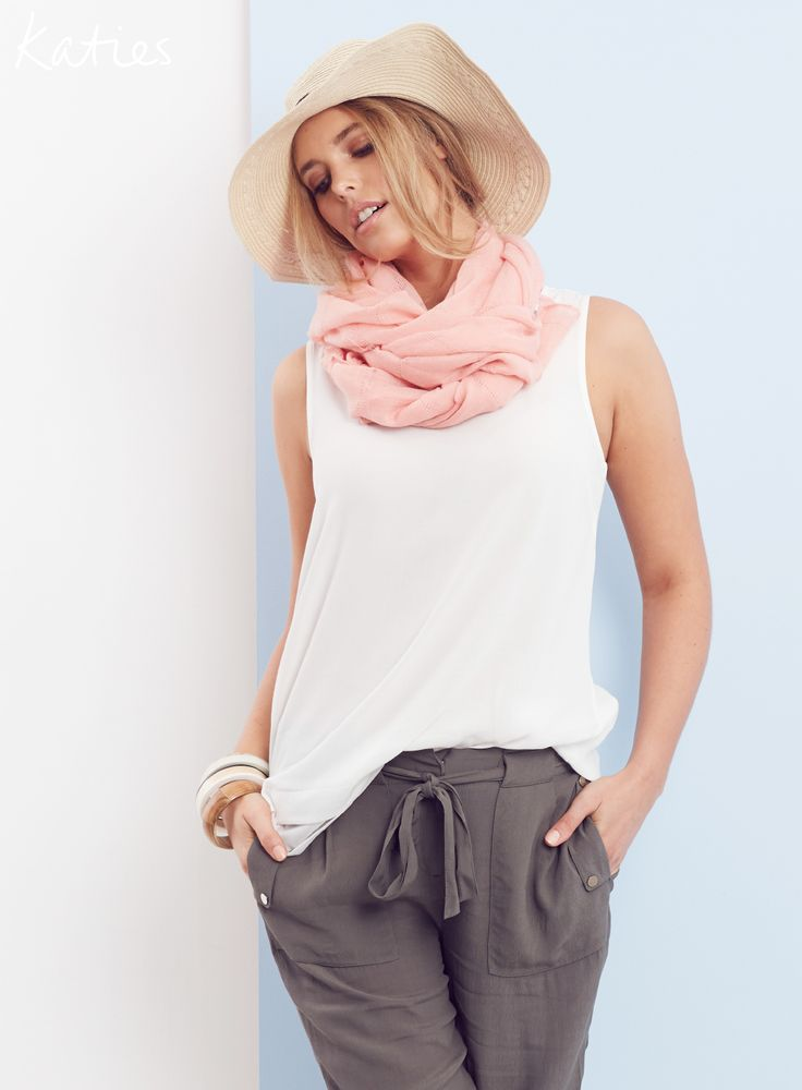 STATEMENT ESSENTIALS / Perfect for mixing and matching, a feminine scarf, tie front pant and plain white top are the foundation of any summer wardrobe.