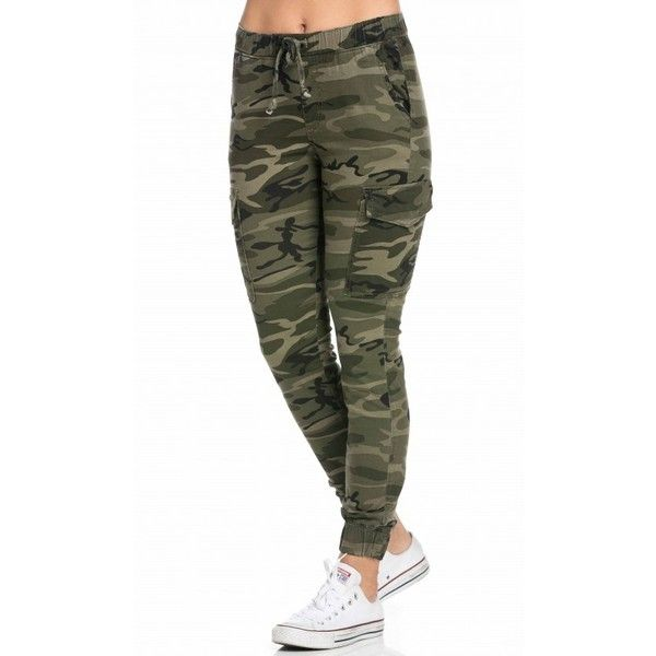 Drawstring Camouflage Cargo Jogger Pants ($45) ❤ liked on Polyvore featuring pants, white camouflage pants, white camo pants, camoflage pants, cotton pants and drawstring pants