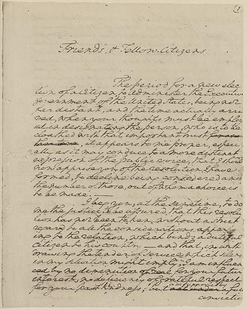 President George Washington's Farewell Address (1796), page 1.  In his farewell Presidential address, George Washington advised American citizens to view themselves as a cohesive unit and avoid political parties and issued a special warning to be wary of attachments and entanglements with other nations.