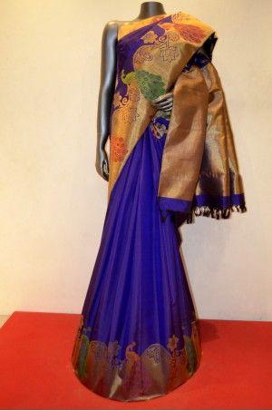 Classic Navy Blue Kanjeevaram Silk Saree With Exquisite Peacock  Zari Border                  Product Code:  AC202962 #Silk # SilkSaree #Handloom #PureSilk #WeddingSaree #BridalSaree # Kanjivaram #Kancheepuram #Kanjeevaram #southindian