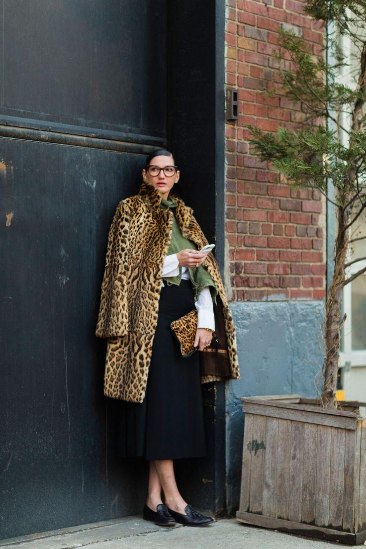 Jenna Lyons at NYFW wearing cheetah, olive and black