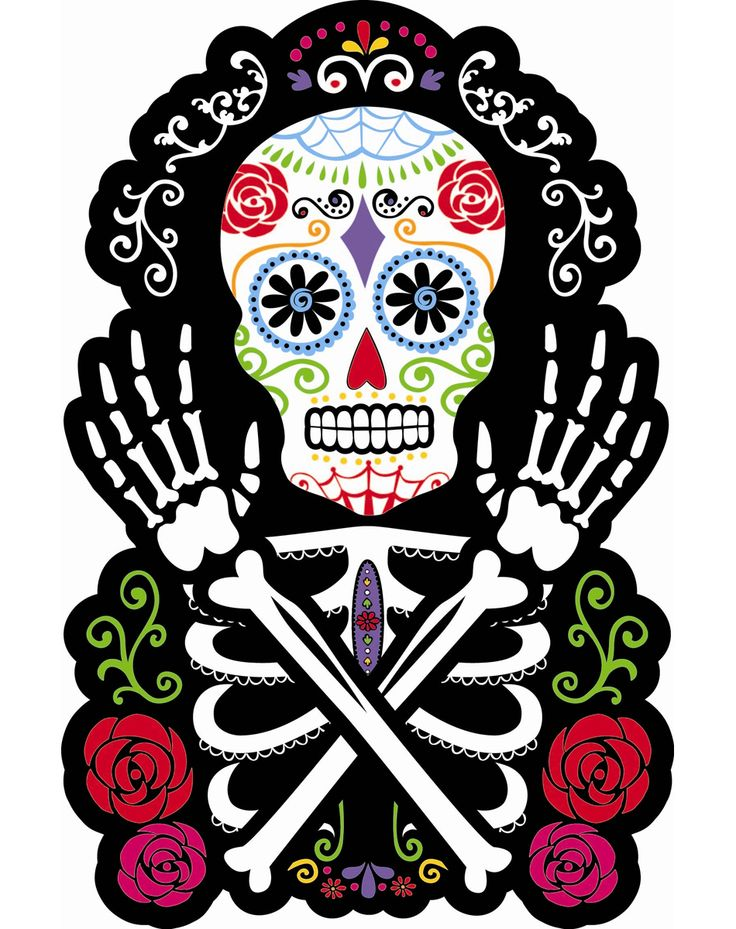 """Sugar Skull Cut Out at Spirit Halloween - Celebrate the day of the dead when you decorate your home with the 15"""" Sugar Skull Cutout. This 15-inch paper cutout features a sugar skull skeleton graphic. Decorate your house with one for $3.99"""