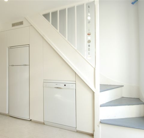 good example of angled stairs at bottom in basement stairway