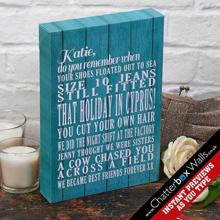 Personalised typographic art canvas - remember when with beach hut background