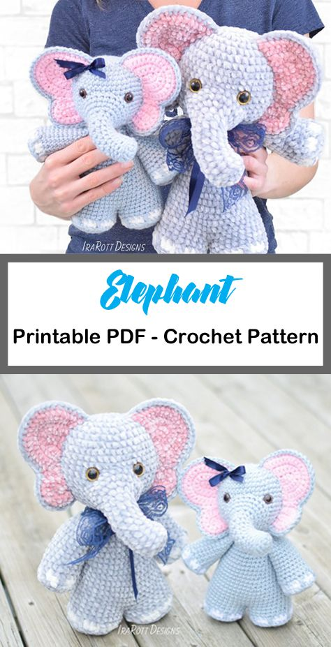 Elephant Crochet Patterns – Cute Toys – A More C…