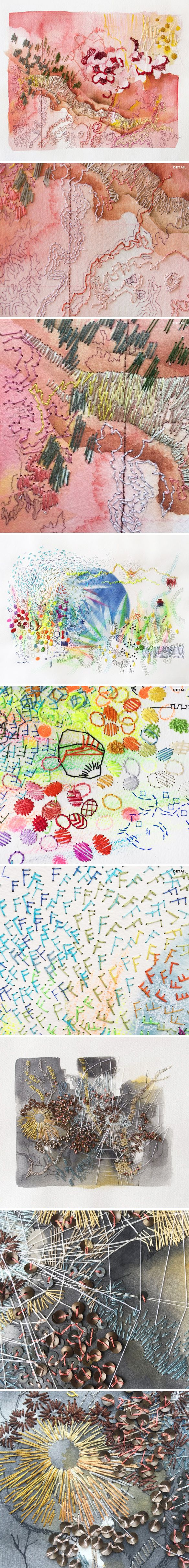 New York-based artist/graphic designer Rhian Swierat's stiched sketches combine painting, drawing, thread and sequins.