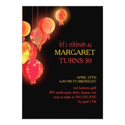 Red Paper Lanterns 30th Birthday Party Card