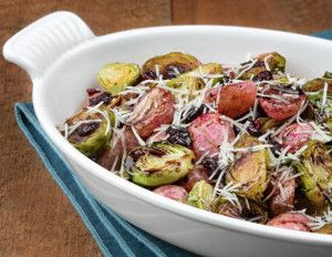 Who can resist the beautiful colours and the enticing aroma of roasted vegetables? Roasting softens and sweetens the flavours of the brussels sprouts and radishes, so that even your fussiest eaters will happily gobble up their share! There's nutrients and good taste aplenty in this amazing medley.