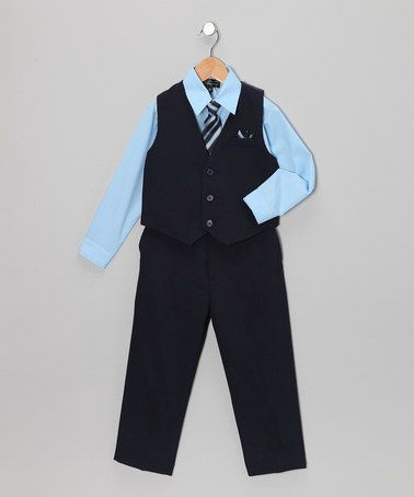 Take a look at this Dark Navy & Sky Blue Vest Set - Infant & Toddler by Silver Suit on #zulily today!