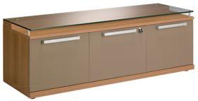 Banc avec 2 portes battantes et un tiroir pour dossiers suspendus Gamme Sliver L135 x P45 x H46 cm noyer bronze par Office Depot