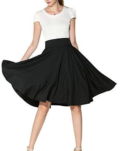 6d0a319fc5 DianShao Womens Pleated Skirt Plain Soft Stretch Ladies Elasticated  Waistband Knee Length Flared Swing Midi Skirts