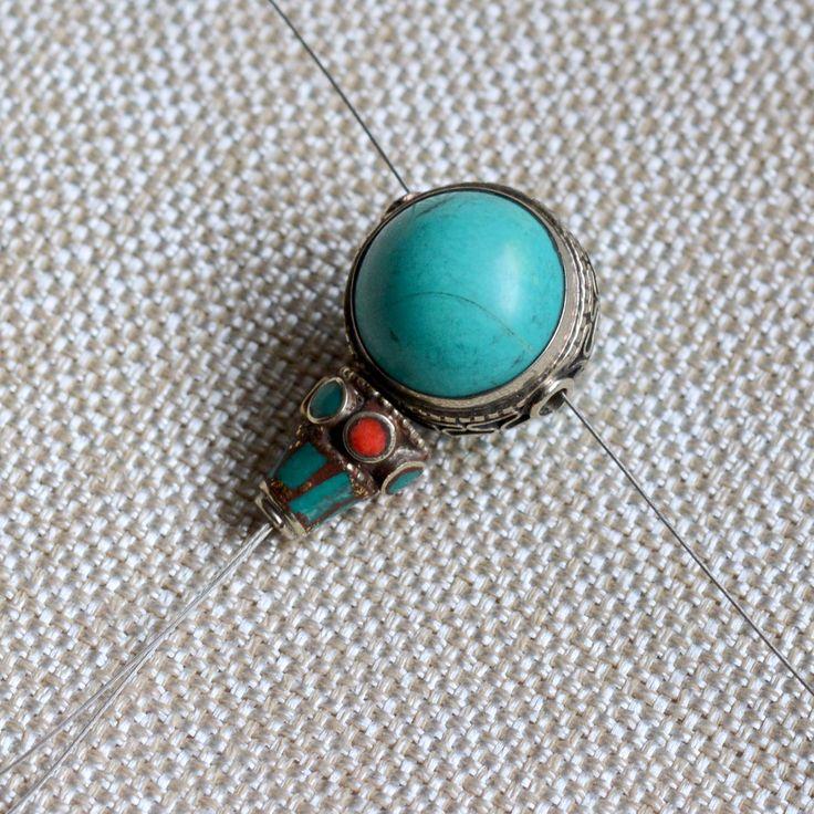Large Tibetan Turquoise Guru Beads, Turquoise Coral Inlay, White Bronze, 3 Hole Connector, Mala Bead, Ornate Bead Cap,One Set, MPM17-0211F