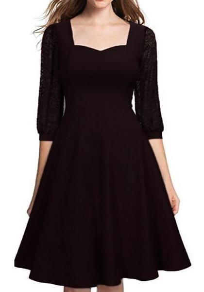 02882c22cd3b Black Patchwork Lace Draped Bodycon Banquet Elegant Party Midi Dress ...