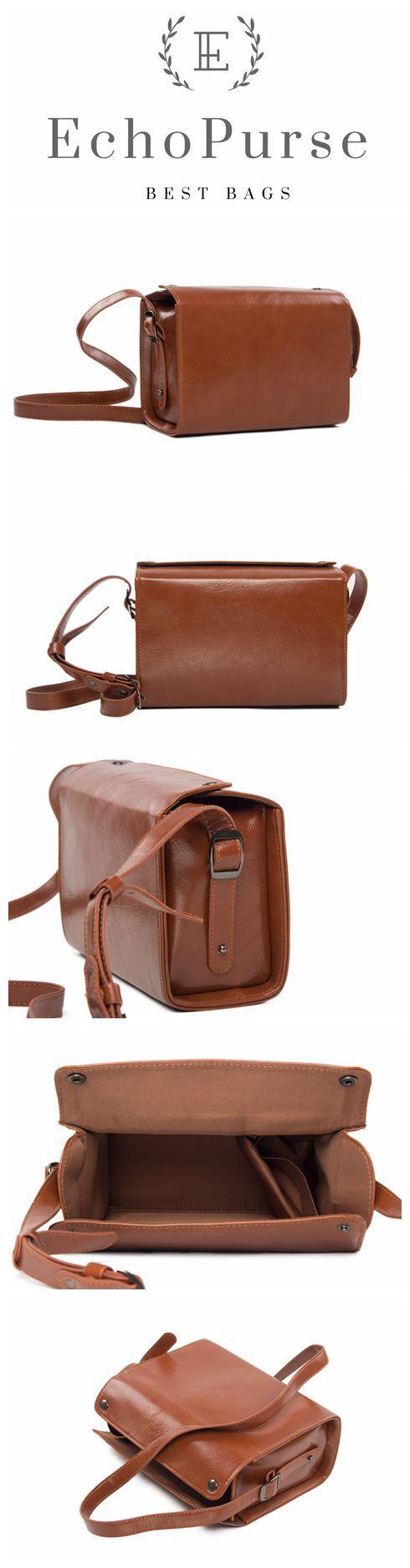 Handmade PU Leather Mirrorless DSLR Camera Bag, Brown SLR Camera Case 189