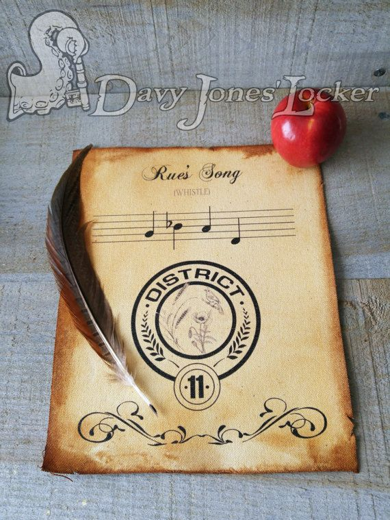 FREE SHIPPING - Rue's song/whistle - Parchment paper - Hunger Games