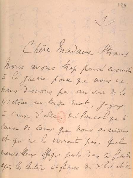 Lettre de Proust à G eneviève Straus. La vertigineuse abondance de la correspondance de Marcel Proust ne peut rationnellement s'expliquer que par l'exagération appuyée des constantes assertions de l'écrivain sur son état de santé. En effet, si on croit...