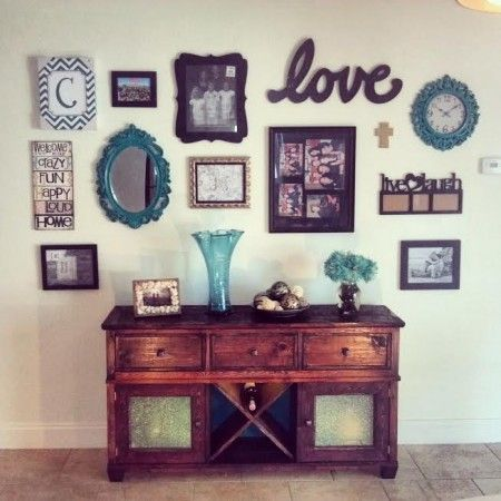Buffet table hutch with wall collage do it yourself for Collage wall art ideas