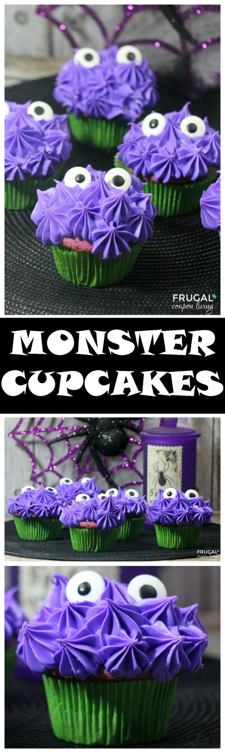 Halloween Kid's Food Craft - easy to make Halloweeny Purple Monster Cupcakes. Recipe details on Frugal Coupon Living. Pin to Pinterest.