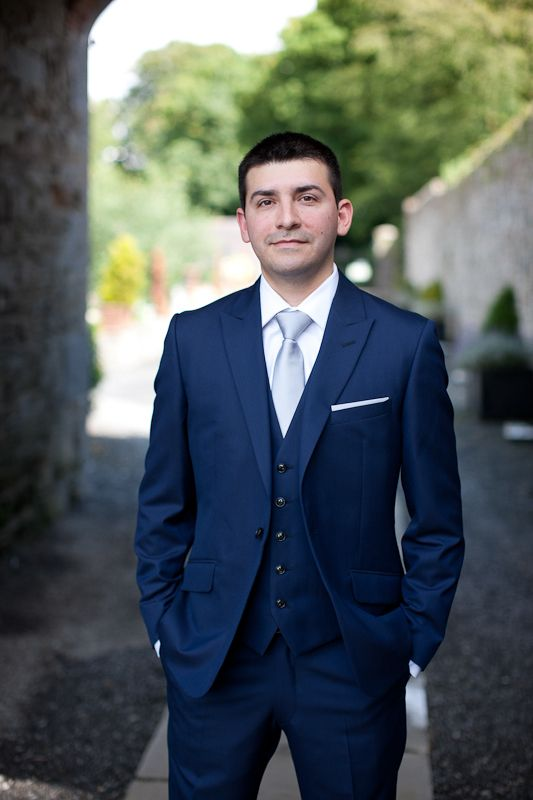 Blue 3 piece suit, silver tie  http://goodbyemiss.com/wedding/a-tankardstown-wedding-from-richie-stokes-photography: