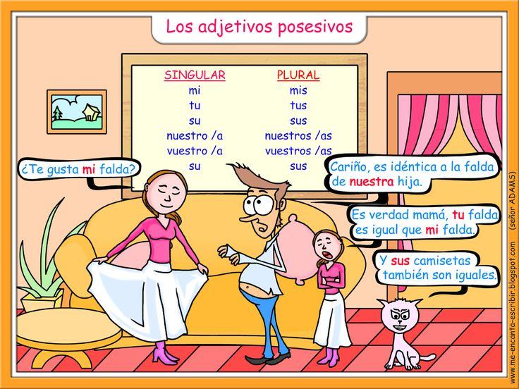 Los adjetivos posesivos (Les adjectifs possessifs) http://me-encanta-escribir.blogspot.fr/
