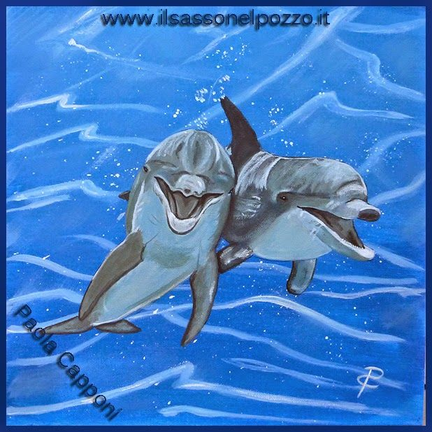 Delfini. Ritratti di animali di Paola capponi. Tela 30x30 cm