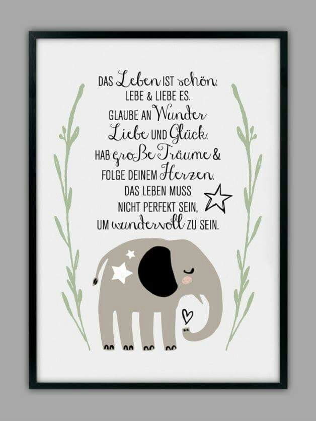 Lebe,liebe,große Träume Geburtstag Freundschaft Spruch Karte Gruß Lebensweisheit Grußkarte Elefant
