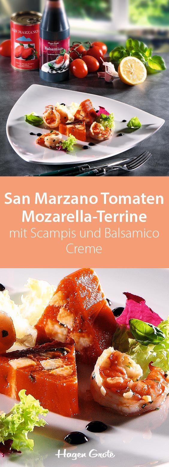 San Marzano Tomaten Mozarella-Terrine mit Scampis und Balsamico Creme