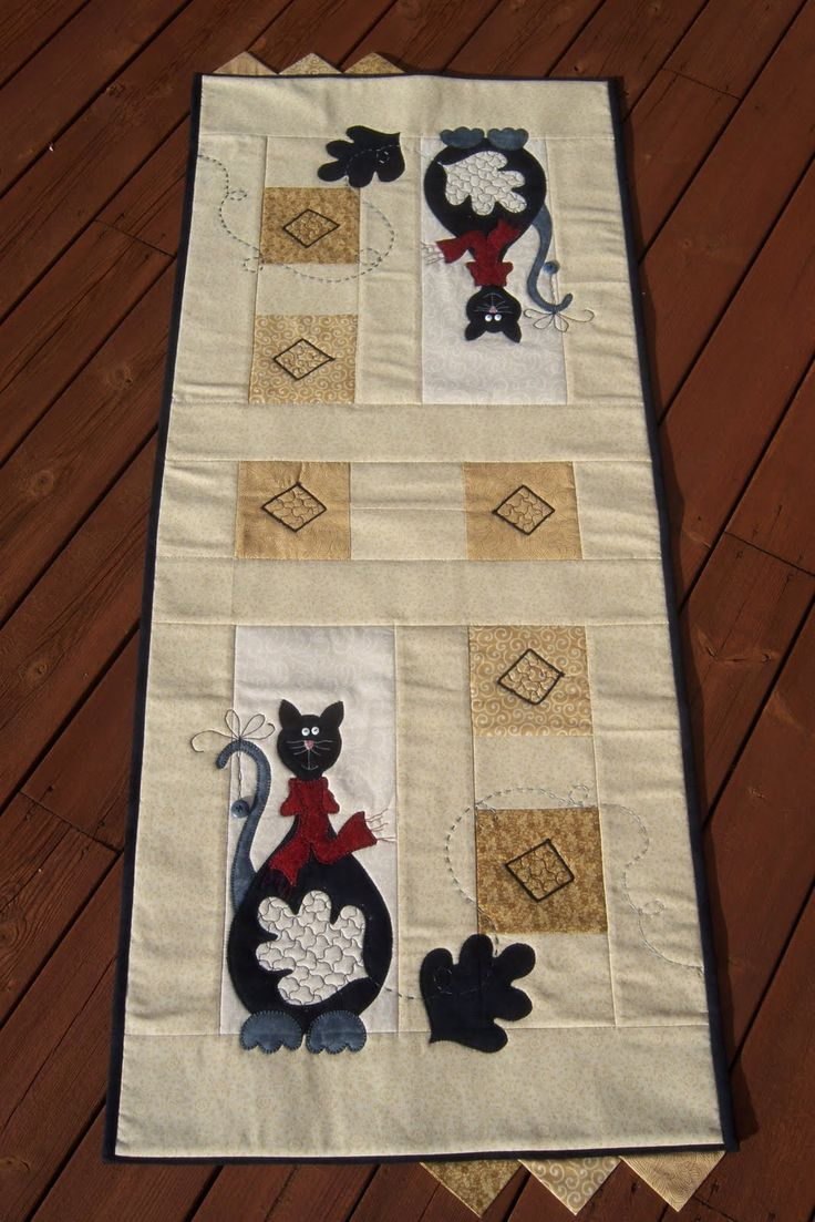 Spools doll quilt table runner wall hanging lyn brown s quilting - Cat On The Mat