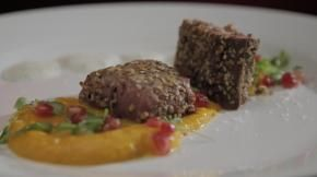Dukkah-Crusted Lamb with Sweet Pumpkin Purée and Mint Yoghurt | My Kitchen Rules