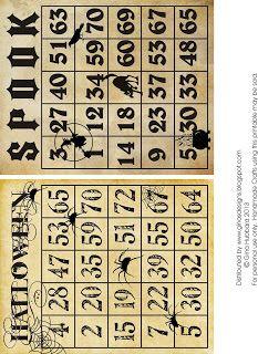 Vintage Halloween Bingo Cards
