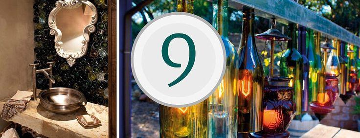 Коллаж из эффектных фотографий для статьи о том как использовать пустые бутылки вина для декора помещений