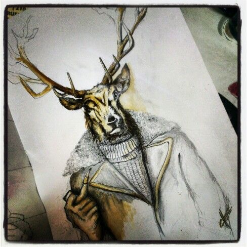 Stag rendered in coffee and sharpie. Designed for a bar on King St Perth WA